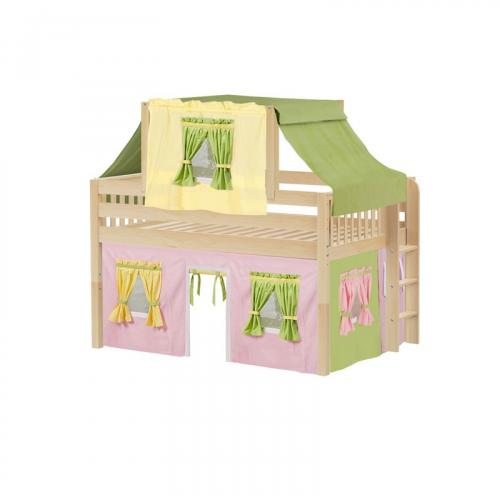 Cave Low Loft by Maxtrix Kids: Natural, Slats, Full, 25-Pink / Yellow / Green