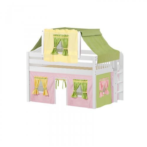 Cave Low Loft by Maxtrix Kids: White, Curved, Full, 25-Pink / Yellow / Green