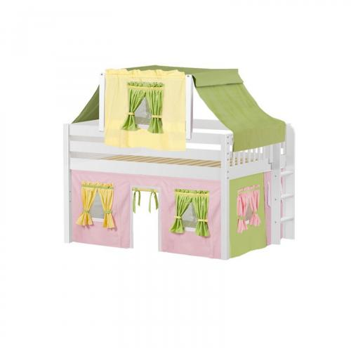 Cave Low Loft by Maxtrix Kids: White, Panel, Full, 25-Pink / Yellow / Green