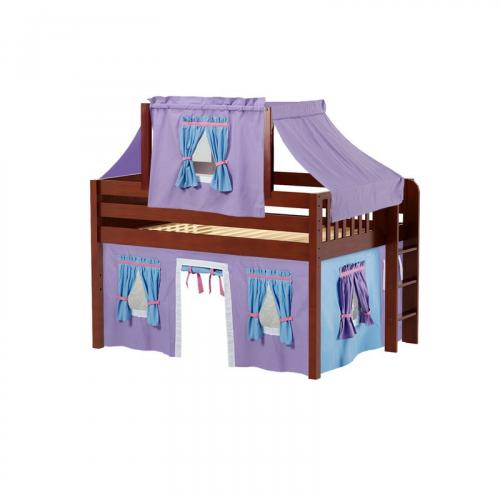 Cave Low Loft by Maxtrix Kids: Chestnut, Panel, Full, 27-Purple / Blue / Hot Pink