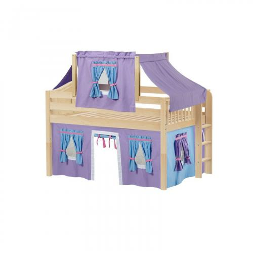 Cave Low Loft by Maxtrix Kids: Natural, Curved, Full, 27-Purple / Blue / Hot Pink