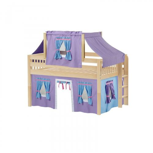 Cave Low Loft by Maxtrix Kids: Natural, Slats, Full, 27-Purple / Blue / Hot Pink