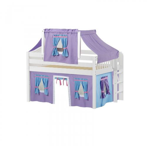 Cave Low Loft by Maxtrix Kids: White, Curved, Full, 27-Purple / Blue / Hot Pink
