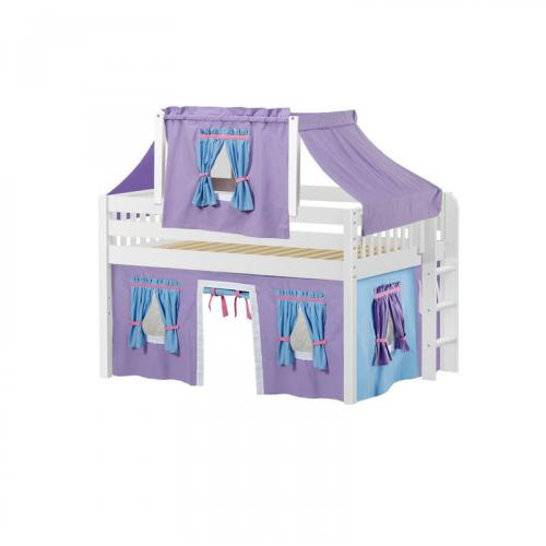 Cave Low Loft by Maxtrix Kids: White, Slats, Full, 27-Purple / Blue / Hot Pink
