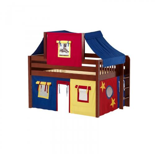 Cave Low Loft by Maxtrix Kids: Chestnut, Panel, Full, 29-Red / Blue / Yellow