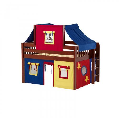 Cave Low Loft by Maxtrix Kids: Chestnut, Slats, Full, 29-Red / Blue / Yellow