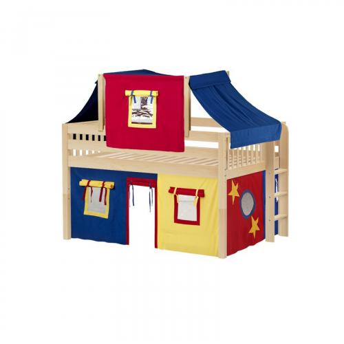 Cave Low Loft by Maxtrix Kids: Natural, Slats, Full, 29-Red / Blue / Yellow