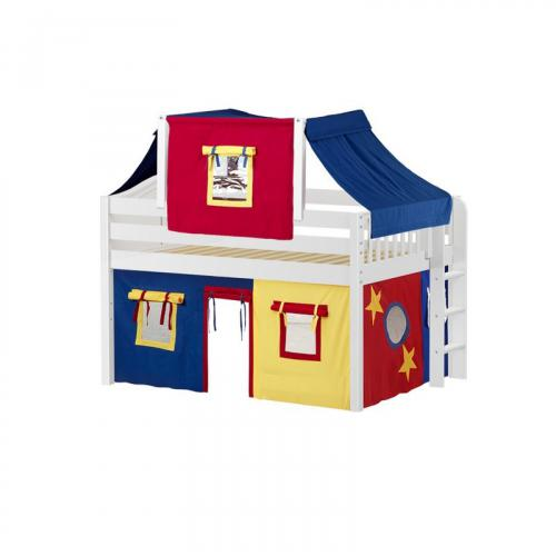 Cave Low Loft by Maxtrix Kids: White, Curved, Full, 29-Red / Blue / Yellow