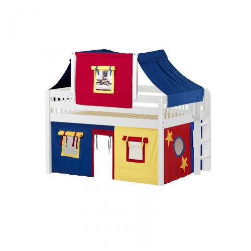 Cave Low Loft by Maxtrix Kids: White, Slats, Full, 29-Red / Blue / Yellow