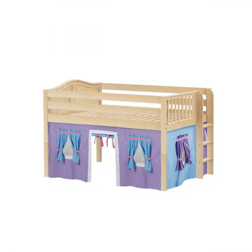 Condo Low Loft by Maxtrix Kids: Natural, Curved, Full, 27-Purple / Blue / Hot Pink