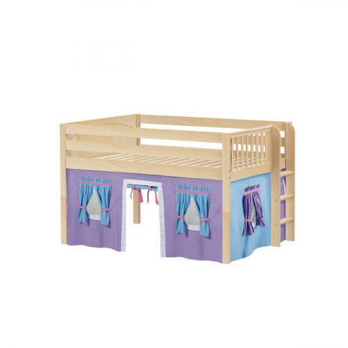 Condo Low Loft by Maxtrix Kids: Natural, Panel, Full, 27-Purple / Blue / Hot Pink