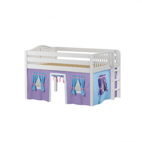 Condo Low Loft by Maxtrix Kids: White, Curved, Full, 27-Purple / Blue / Hot Pink