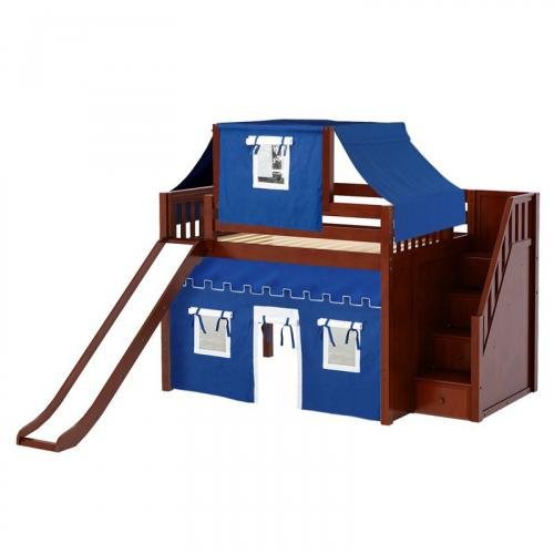 Fine Mid Loft by Maxtrix Kids: Chestnut, Slats, Full, Slide, Stairs, 22-Blue / White