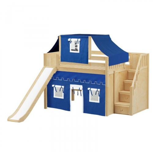 Fine Mid Loft by Maxtrix Kids: Natural, Panel, Full, Slide, Stairs, 22-Blue / White