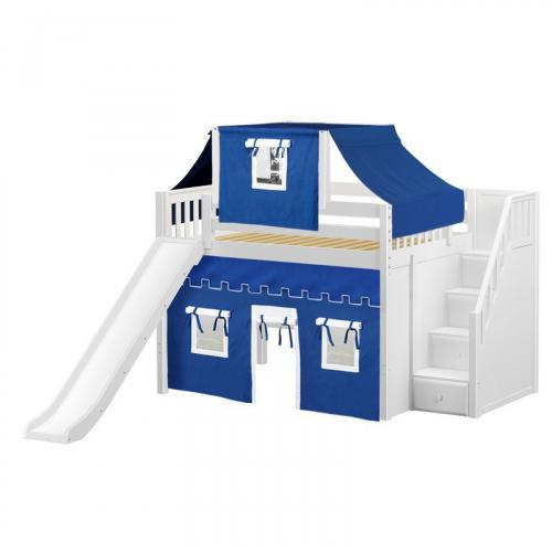 Fine Mid Loft by Maxtrix Kids: White, Slats, Full, Slide, Stairs, 22-Blue / White