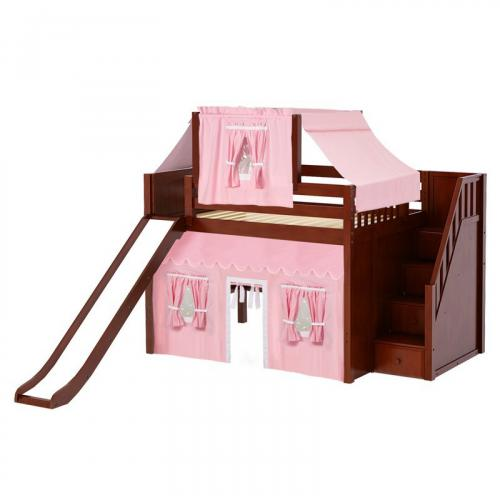 Fine Mid Loft by Maxtrix Kids: Chestnut, Panel, Full, Slide, Stairs, 23-Pink / White