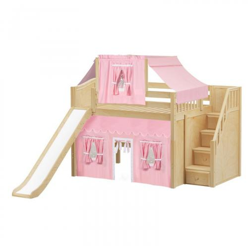 Fine Mid Loft by Maxtrix Kids: Natural, Curved, Full, Slide, Stairs, 23-Pink / White