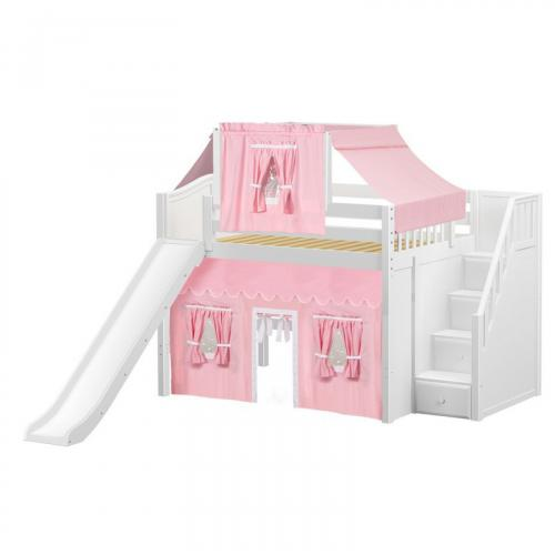 Fine Mid Loft by Maxtrix Kids: White, Curved, Full, Slide, Stairs, 23-Pink / White