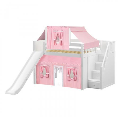 Fine Mid Loft by Maxtrix Kids: White, Panel, Full, Slide, Stairs, 23-Pink / White