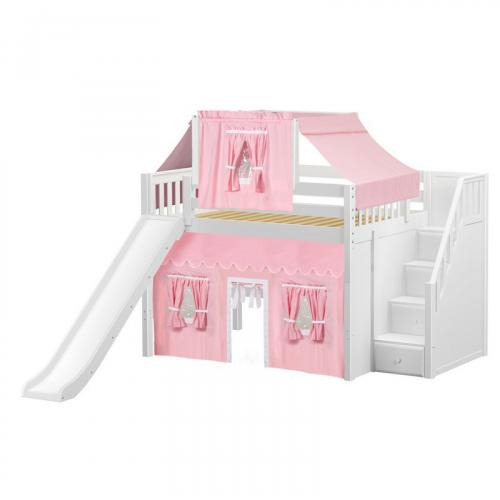 Fine Mid Loft by Maxtrix Kids: White, Slats, Full, Slide, Stairs, 23-Pink / White