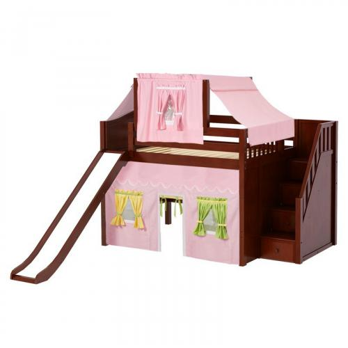 Fine Mid Loft by Maxtrix Kids: Chestnut, Curved, Full, Slide, Stairs, 25-Pink / Yellow / Green