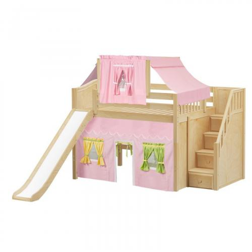 Fine Mid Loft by Maxtrix Kids: Natural, Curved, Full, Slide, Stairs, 25-Pink / Yellow / Green