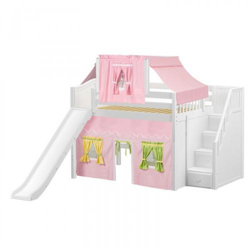 Fine Mid Loft by Maxtrix Kids: White, Curved, Full, Slide, Stairs, 25-Pink / Yellow / Green