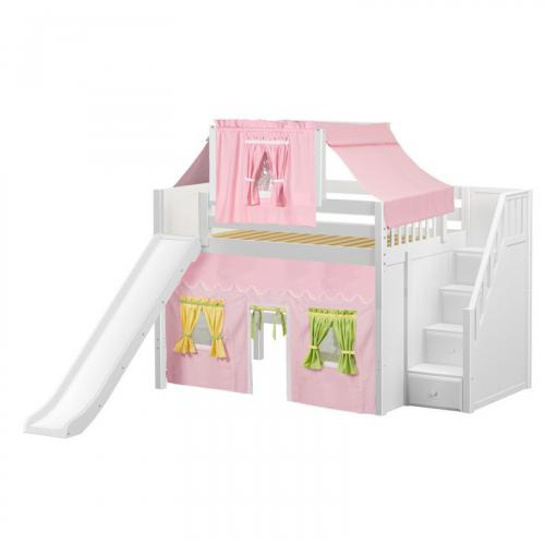 Fine Mid Loft by Maxtrix Kids: White, Panel, Full, Slide, Stairs, 25-Pink / Yellow / Green