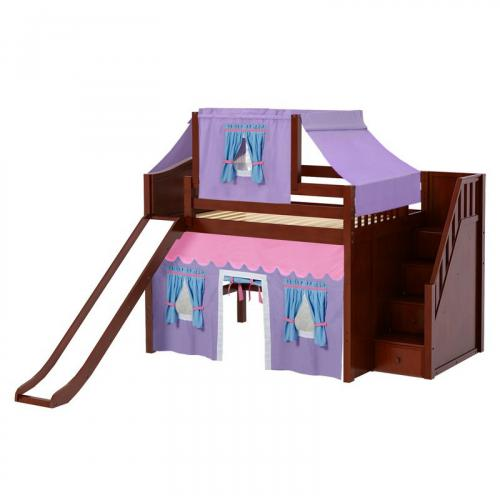 Fine Mid Loft by Maxtrix Kids: Chestnut, Curved, Full, Slide, Stairs, 27-Purple / Blue / Hot Pink