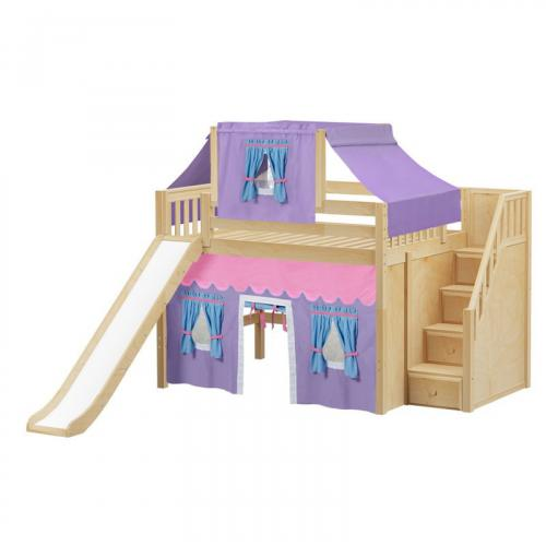 Fine Mid Loft by Maxtrix Kids: Natural, Slats, Full, Slide, Stairs, 27-Purple / Blue / Hot Pink