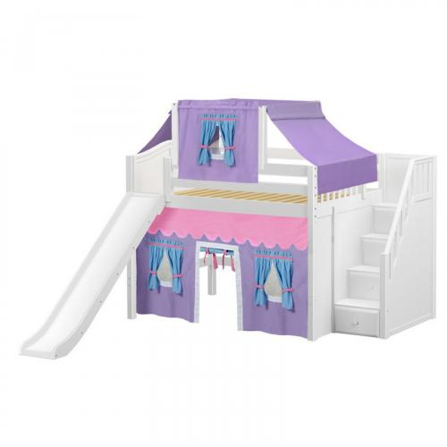 Fine Mid Loft by Maxtrix Kids: White, Curved, Full, Slide, Stairs, 27-Purple / Blue / Hot Pink