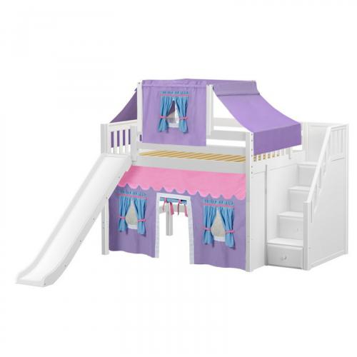 Fine Mid Loft by Maxtrix Kids: White, Slats, Full, Slide, Stairs, 27-Purple / Blue / Hot Pink
