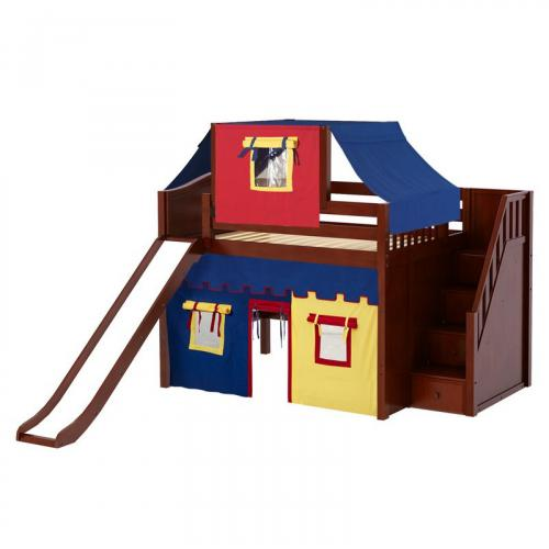 Fine Mid Loft by Maxtrix Kids: Natural, Curved, Full, Slide, Stairs, 29-Red / Blue / Yellow