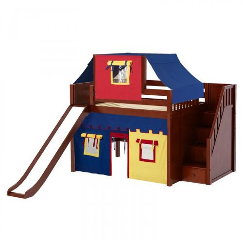 Fine Mid Loft by Maxtrix Kids: Natural, Panel, Full, Slide, Stairs, 29-Red / Blue / Yellow