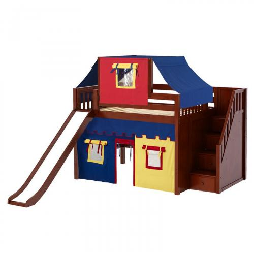 Fine Mid Loft by Maxtrix Kids: Natural, Slats, Full, Slide, Stairs, 29-Red / Blue / Yellow
