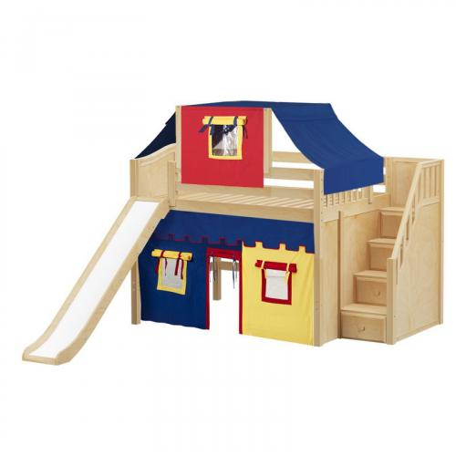 Fine Mid Loft by Maxtrix Kids: White, Curved, Full, Slide, Stairs, 29-Red / Blue / Yellow
