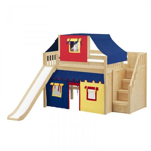 Fine Mid Loft by Maxtrix Kids: White, Slats, Full, Slide, Stairs, 29-Red / Blue / Yellow
