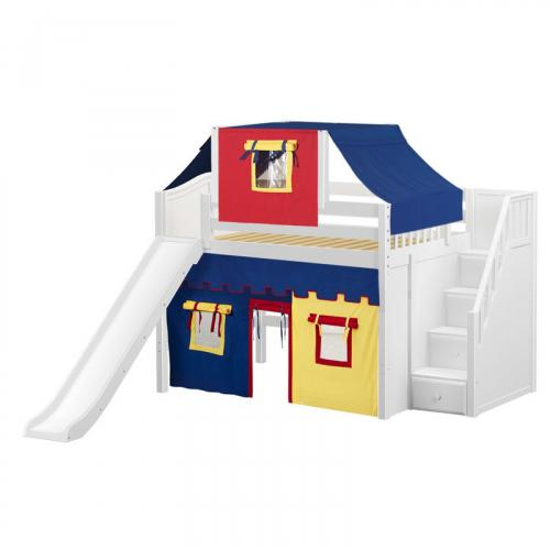 Fine Mid Loft by Maxtrix Kids: Chestnut, Curved, Full, Slide, Stairs, 44-Blue / Red / Gray