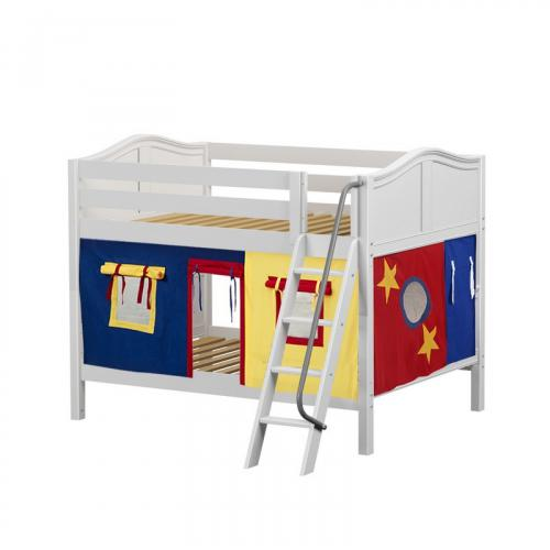 Gulp Low Bunk By Maxtrix Kids White Curved Full 29 Red Blue Yellow