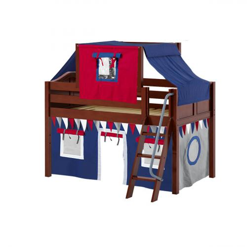 Yang Low Loft by Maxtrix Kids: Chestnut, Curved, Twin, 44-Blue / Red / Gray