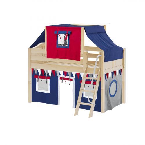 Yang Low Loft by Maxtrix Kids: Natural, Curved, Twin, 44-Blue / Red / Gray