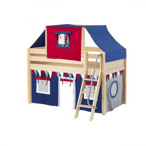 Yang Low Loft by Maxtrix Kids: Natural, Panel, Twin, 44-Blue / Red / Gray