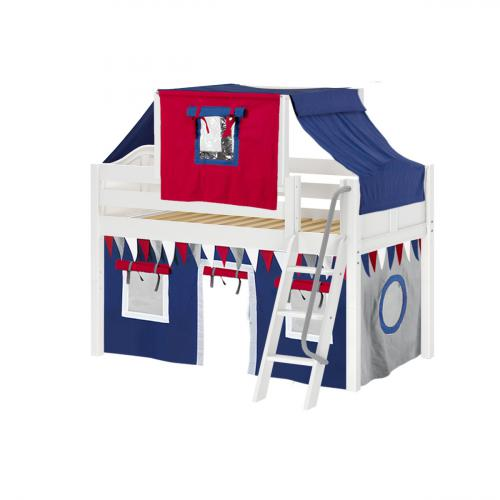 Yang Low Loft by Maxtrix Kids: White, Curved, Twin, 44-Blue / Red / Gray