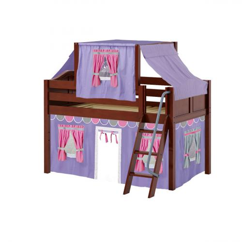 Yang Low Loft by Maxtrix Kids: Chestnut, Curved, Twin, 56-Purple / Hot Pink / Gray