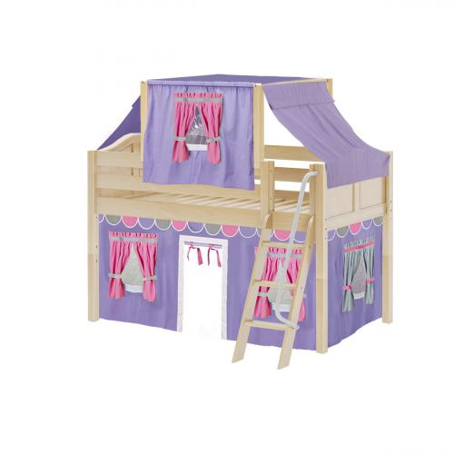 Yang Low Loft by Maxtrix Kids: Natural, Curved, Twin, 56-Purple / Hot Pink / Gray