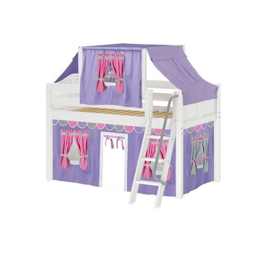 Yang Low Loft by Maxtrix Kids: White, Curved, Twin, 56-Purple / Hot Pink / Gray