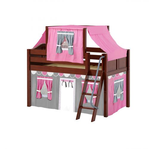 Yang Low Loft by Maxtrix Kids: Chestnut, Curved, Twin, 57-Hot Pink / White / Gray