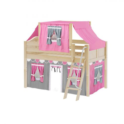 Yang Low Loft by Maxtrix Kids: Natural, Curved, Twin, 57-Hot Pink / White / Gray