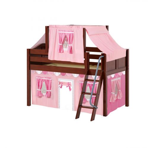 Yang Low Loft by Maxtrix Kids: Chestnut, Curved, Twin, 64-Hot Pink / Soft Pink / White