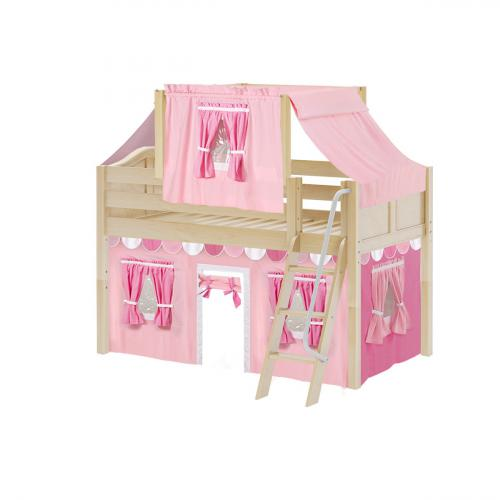 Yang Low Loft by Maxtrix Kids: Natural, Curved, Twin, 64-Hot Pink / Soft Pink / White
